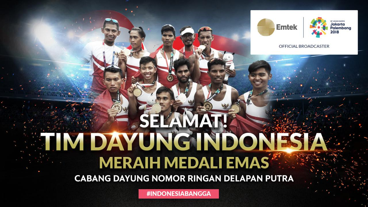 Tim Dayung Putra Indonesia Sabet Medali Emas di Asian Games
